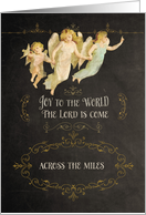 Merry Christmas across the miles, angels, chalkboard effect card