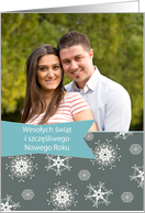 Merry Christmas in Polish, Customizable photo card, snowflakes card