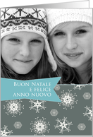 Merry Christmas in Italian, Customizable photo card, snowflakes card
