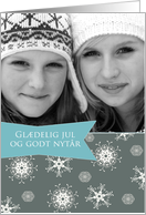 Merry Christmas in Danish, Customizable photo card, snowflakes card