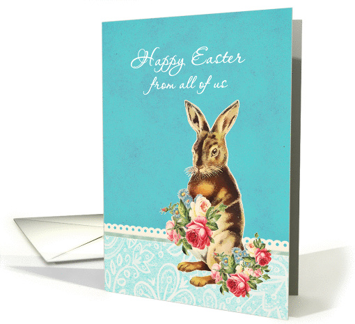 Happy Easter from all of us, vintage bunny card (1224358)