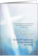 Blessings, 50th Anniversary, Ordination Pastor, cross card