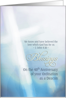 Blessings, 40th Anniversary, Ordination Deacon, cross card