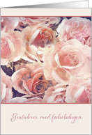 Happy Birthday in Norwegian, pink and cream roses card