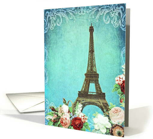 Blank note card, Eiffel tower Paris, vintage look card (1294000)