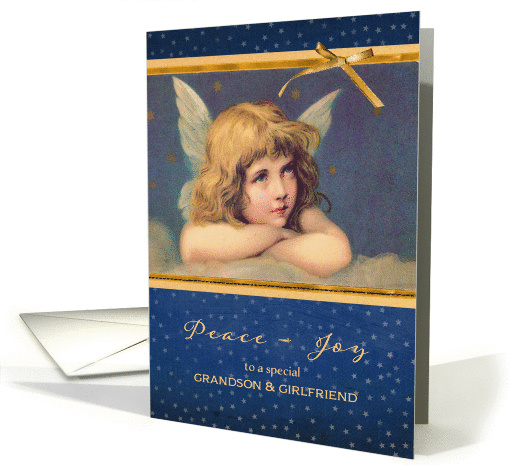 To my grandson and his girlfriend, Christmas card, vintage angel card
