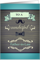 Happy Father-in-Law Day, vintage/retro effect, grey and blue card