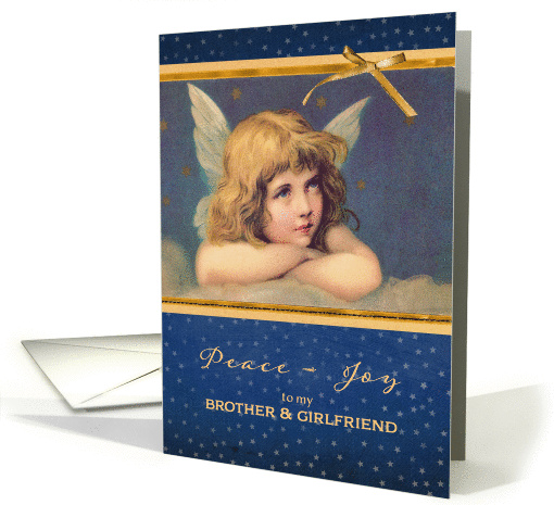 For brother and his girlfriend, Christmas card, vintage angel card