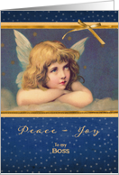 To my boss, Business Christmas card, vintage angel card