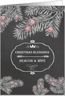 Christmas Blessings for Deacon and his Wife, Chalkboard effect card
