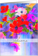 welcome to the neighborhood! Anemones in vase card