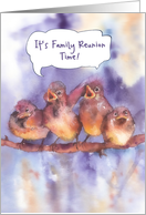 Invitation to a family reunion, sparrows, watercolor painting card