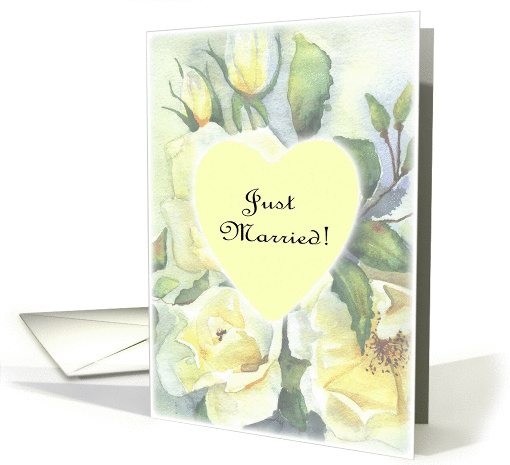 just married- white rose heart pale card (187390)