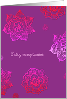 ¡Feliz cumpleaños! Happy birthday in Spanish, pink and purple flowers card