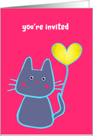 you are invited, kid's birthday party, pink cat with balloon card