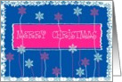 merry christmas floral snowflakes blue red card