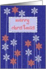 merry christmas white blue floral snowflakes blue red card