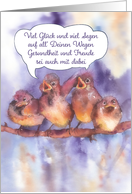 Happy Birthday In German Singing Sparrows Card