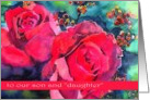 son and daughter in law happy anniversary wedding red roses card