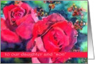 son in law and daughter happy anniversary wedding red roses card