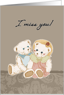 miss you teddy bears, support for prisoners card