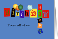happy birthday from all of us, business birthday card, letters blue card