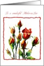 wonderful mother in law rose watercolor card