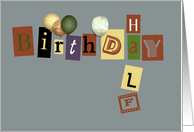 half birthday, brown and grey card