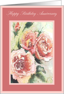 birthday anniversary pink roses card