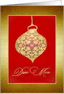 Dear Mom, Merry Christmas, Glass Bauble Ornament, Gold-Effect card