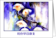 Get Well Soon in Chinese, Watercolor Painting, White Flowers card