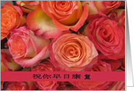 chinese get well soon pink roses card