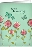 gute Besserung, get well soon in German, butterflies and flowers card