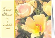 To a wonderful Friend, Easter Blessings, Yellow Tulips, Pink Roses card
