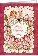 Happy Valentine's Day, Heart, Cupid and Roses, Vintage card