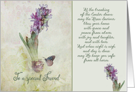 To a wonderful friend, Easter Blessings, hyacinth card