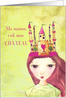 ma maison, c'est mon château, french my home is my castle illustration card