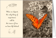 Traces of love left behind, Sympathy card, orange butterfly card
