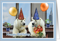 happy birthday to our customer, polar bears with balloons card