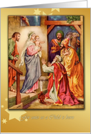 for unto us a child is born christian christmas card nativity & wise men card