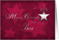 merry christmas to my boss, business, star, silver effect card