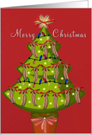 hot dog Christmas, tree with sausages, merry christmas card