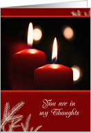 Christmas in Remembrance card, You are in my thoughts, candles card