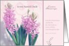 to my aunt and uncle, easter blessings, crocus flower, christian happy easter card, John 11:25 card