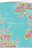 from all of us,happy mother's day, pink chrysanthemum flowers, turqoise card