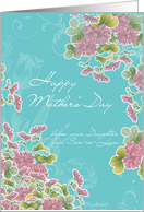 from your daughter and son-in-law,happy mother's day, pink chrysanthemum flowers, turqoise card