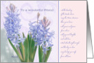 to a wonderful friend,happy easter, christian easter card, blue hyacinth card