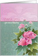 thank you, you are a blessing, peonies on pink and green background card