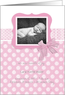 new baby girl, birth announcement photo card, pink, 3d-effect ribbon card