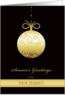 Season's Greetings from New Jersey, gold bauble, Christmas Card